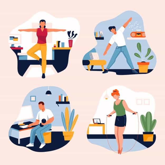 تمارين رياضية خلال فترة العمل من المنزل